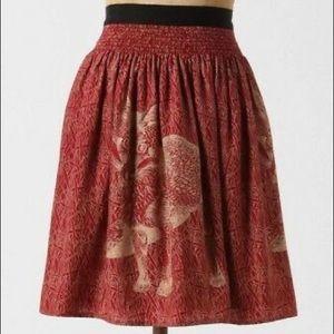 Anthropologie Fox Red Silk Skirt